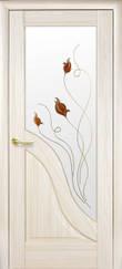 Дверне полотно Амата , глухе,з гравіюванням, зі склом сатин і малюнком