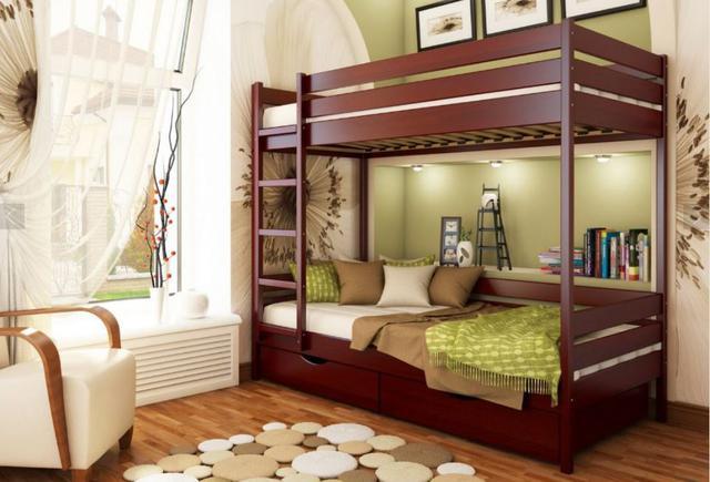 Кровать двухъярусная Дуэт тм Эстелла цвет №104 Красное дерево (Бук Щит)
