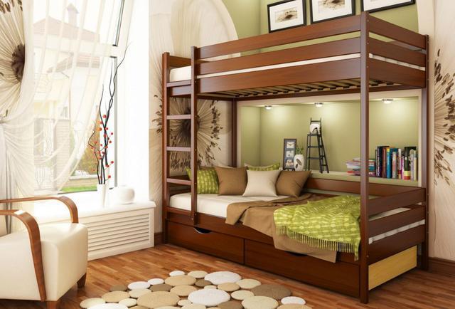 Кровать двухъярусная Дуэт тм Эстелла цвет №103 Светлый орех (Бук Массив) фасад+ящики ДСП