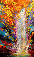«Осенний водопад» картина маслом