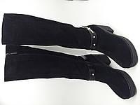 Сапоги женские демисезонные замшевые на каблуке
