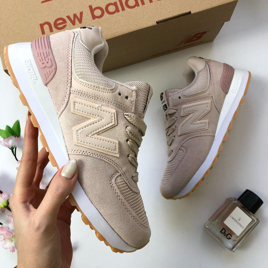 Женские кроссовки New Balance 574 (в стиле Нью Баланс) кремовые -  Мультибрендовый магазин обуви 43f81374ea1