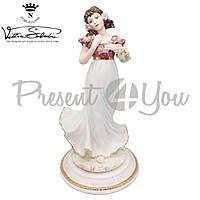 Фигурка-статуэтка фарфоровая Италия, ручная робота «Девушка с цветами» Sabadin, h-35 см (2345Ls)