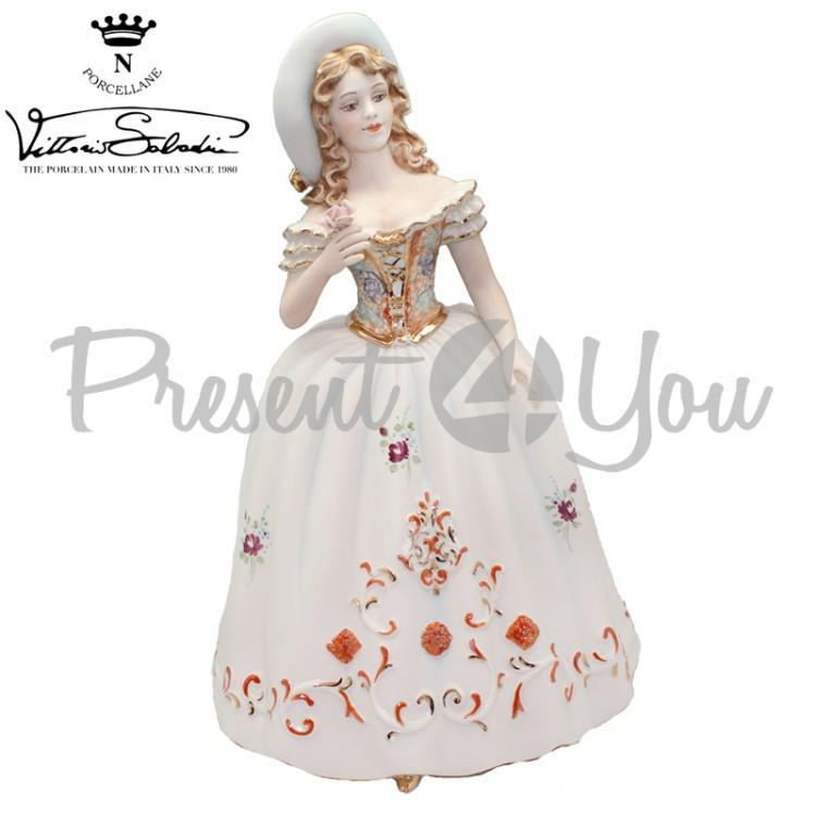 Фигурка-статуэтка фарфоровая Италия, ручная работа «Леди с розой» Sabadin, h-35 см (2363Ls)