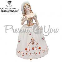 Фигурка-статуэтка фарфоровая Италия, ручная робота «Леди с розой» Sabadin, h-35 см (2363Ls)