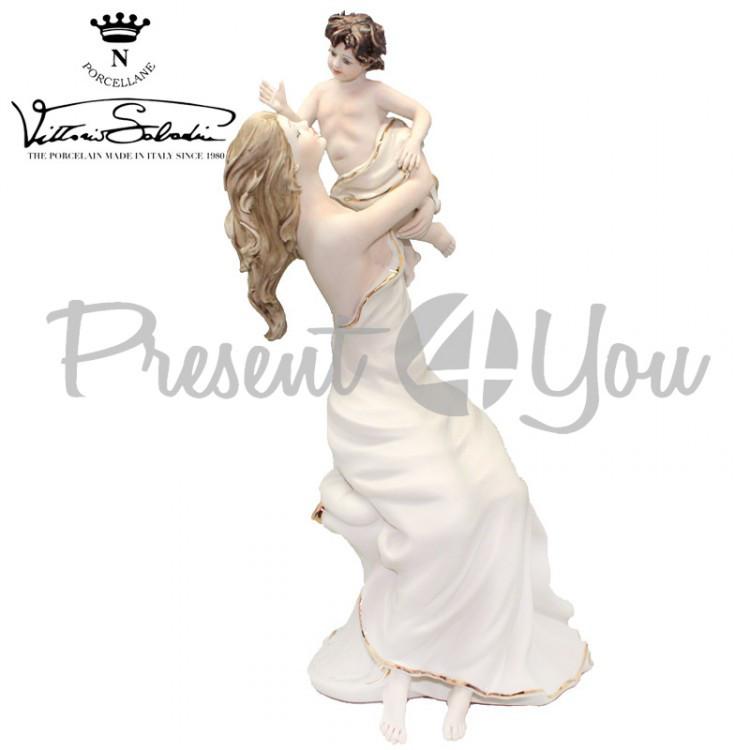 Фигурка-статуэтка фарфоровая Италия, ручная работа «Мама с ребенком» Sabadin, h-36 см (2979B)