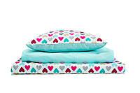 Постель в детскую кроватку «Разноцветные сердечки с душистой мятой»