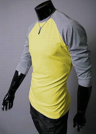 Мужская желтая футболка с серыми рукавами, фото 2