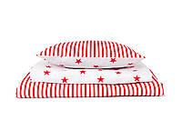 Постель в детскую кроватку «Звездная полоска/ волшебный красный»