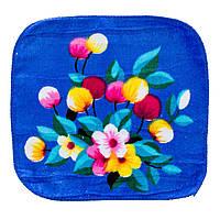 Махровая салфетка полотенце синие с рисунком цветы