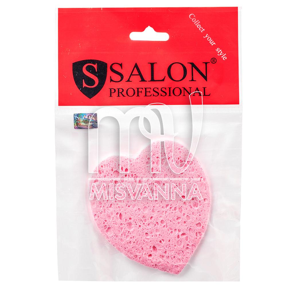 Спонж (губка) для умывания Salon Professional, сердце розовый