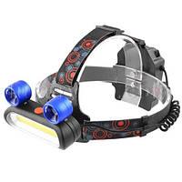 Фонарь на лоб Police JR-2200-COB+2LTS, 2х18650 (3xAA), ЗУ micro USB, signal light, комплект