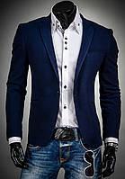 Темно-синий приталенный мужской пиджак