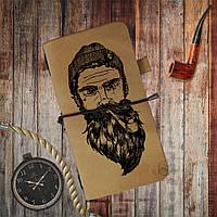 """Песочный кожаный блокнот-классик """"Борода"""" , сафари"""