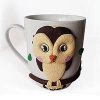 Сувенирная чашка декорированная полимерной глиной Совушка Подарок на 8 марта