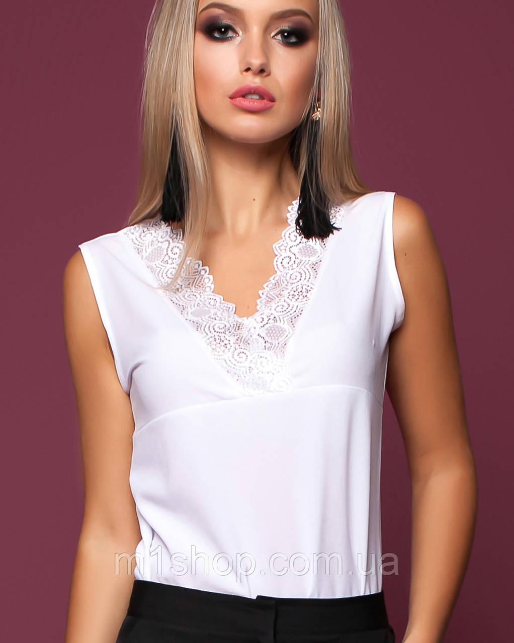 Женская блузка без рукавов с кружевом (Окси jd)
