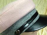 Картуз из двухцветного драпа с лаковым козырьком 55-56-57 см, фото 2