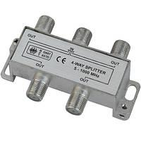 Сплиттер (Splitter) ТВ  4-way 5-1000MHZ, корпус_металл