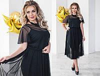 Платье женское большого размера, Ткань: сетка+трикотаж цвет черный супер качество нкух №2074