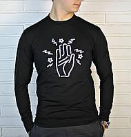 Черный трикотажный мужской свитшот , фото 1