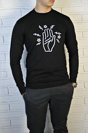 Черный трикотажный мужской свитшот , фото 2
