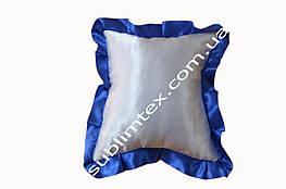 Подушка атласная,натуральный наполнитель,метод печати сублимация,размер 35х35см,цвет Рюши синий