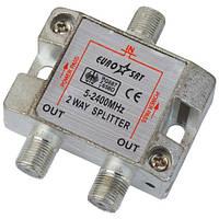 Сплиттер (Splitter) ТВ 2-way 5-2400MHZ, с проходом питания, корпус металл