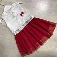 Нарядное Платье для Девочки Красное Рост 98-116 см, фото 1