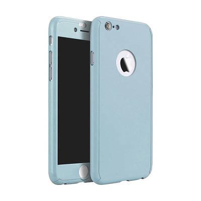 Чехол накладка на iPhone 5/5s/s светло-голубой пластик двухсторонний со стеклом, защита 360 градусов