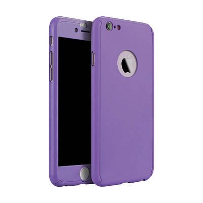 Чехол накладка на iPhone 5/5s/se фиолетовый пластик двухсторонний со стеклом, защита 360 градусов