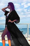 Длинная пляжная туника в пол из легкого прозрачного шифона черного цвета