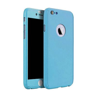 Чехол накладка на iPhone 5/5s/se голубой пластик двухсторонний со стеклом, защита 360 градусов