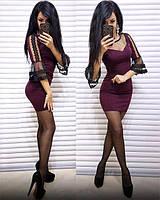 Платье женское короткое со вставками из сетки P8361