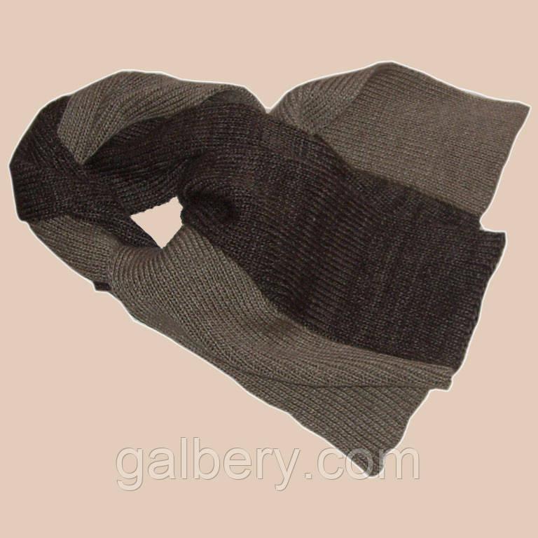 Вязаный двухцветный шарф кофейно - коричневого цвета