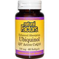Коэнзим Q10, Natural Factors, Улучшенная абсорбция с льняным маслом, 100 мг, 60  гелевых капсул