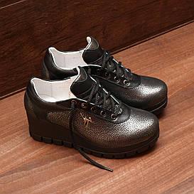 71311| Женские туфли на платформе. Серебристые из кожи со шнуровкой