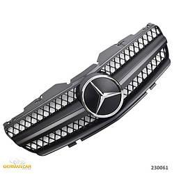Решетка радиатора Mercedes SL R230 (01-06) стиль AMG (черный мат + хром звезда)