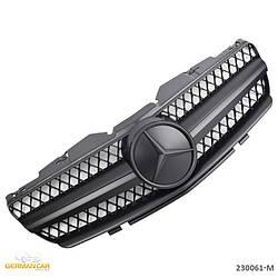 Решетка радиатора Mercedes SL R230 (01-06) стиль AMG (черный мат + черная звезда)