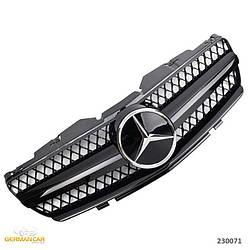 Решетка радиатора Mercedes SL R230 (01-06) стиль AMG (черный глянц + хром звезда)