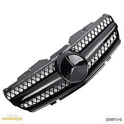 Решетка радиатора Mercedes SL R230 (01-06) стиль AMG (черный глянц + черная звезда)