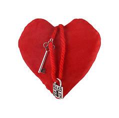 Сердце плюш с подвеской ключ/замок 10*10*4 см GULL (4016)