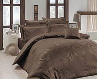 Жаккардовое постельное белье Nazenin евро размер Lisa kahve