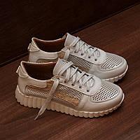 81122| Женские кроссовки повседневные на светлой подошве. Белые из натуральной кожи с перфорацией