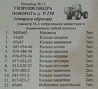 Ремкомплект гидроцилиндра поворота трактора Т-150  шток 45