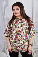 Женская блуза из штапеля. Цветы. Размер универсальный 52-54. , фото 1