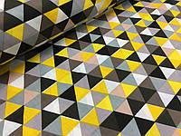 """Польская хлопковая ткань """"триугольники черно-желтые мелкие"""""""