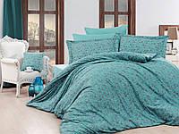 Жаккардовое постельное белье Nazenin евро размер Serena turkuaz