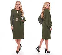 Стильное платье женское Екатерина оливкового цвета, фото 1