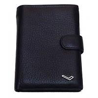 Бумажник Water Lily 302-В-А черный с паспортом мужской натуральная кожа 15 х 10