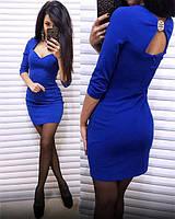 Платье женское короткое из трикотажа с глубоким декольте P8366, фото 1